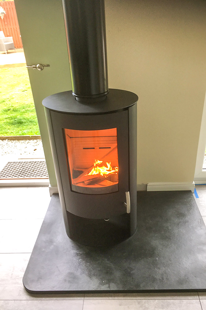 Modern woodburning stove fitted in Aberlour