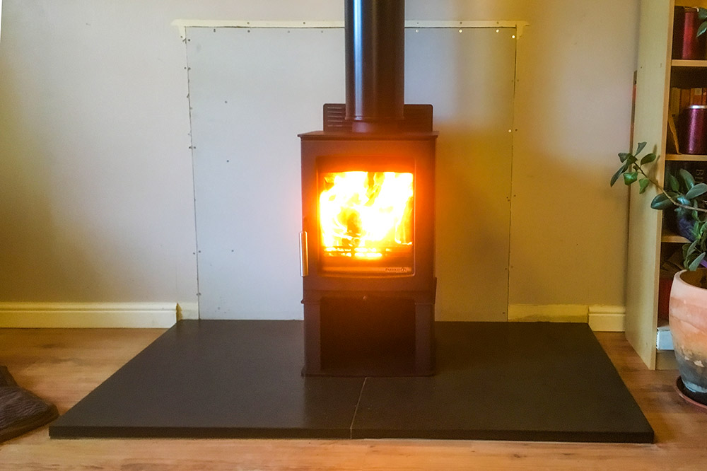 Parkray Aspect woodburning stove fitted into a modern bungalow in Nairn