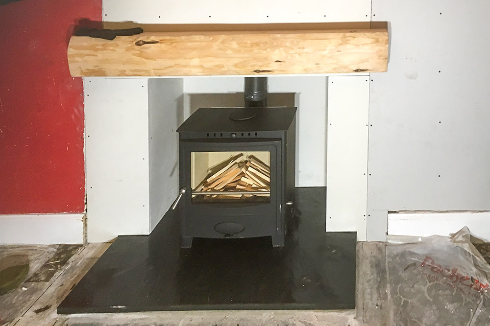 Multifuel stove in a modern townhouse in Forres