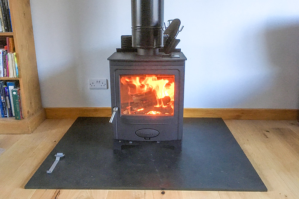 Hamlet woodburning stove fitted into a modern bungalow in Nairn